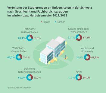 Infografik Fachbereiche an Universitäten nach Geschlecht
